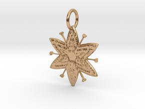 Egyptian Star Flower Pendant in Polished Bronze: Medium