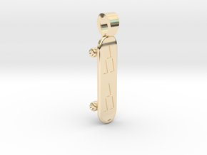 Skateboarding [pendant] in 14k Gold Plated Brass
