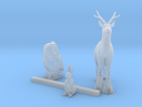 S Scale Woodland animals 3 in Smooth Fine Detail Plastic