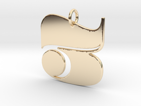 Numerical Digit Three Pendant in 14K Yellow Gold