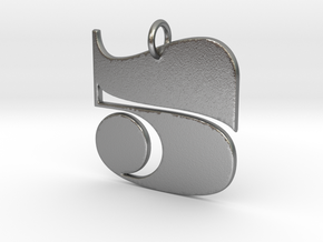 Numerical Digit Five Pendant in Natural Silver