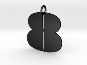 Numerical Digit Eight Pendant in Matte Black Steel