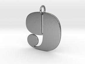 Numerical Digit Nine Pendant in Natural Silver
