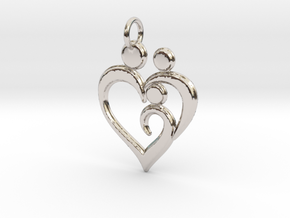 Family of 3 Heart Shaped Pendant in Platinum