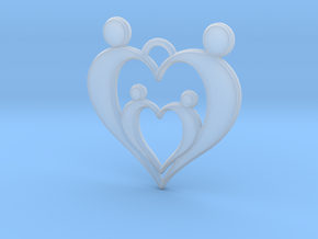 Family of Four Heart Shaped Pendant in Smoothest Fine Detail Plastic