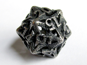 Pinwheel Die20 in Polished Bronzed Silver Steel