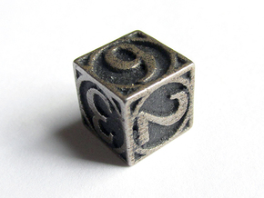 Circle Theme d6 in Polished Bronzed Silver Steel