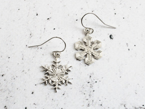 Snowflake Earrings  in Natural Silver
