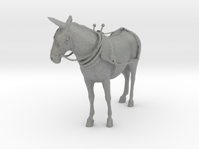 O Scale Mule with harness in Gray Professional Plastic
