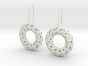 DRAGON, Omega Earrings.  in White Premium Versatile Plastic