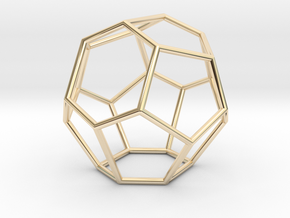 Fullerene with 15 faces in 14k Gold Plated Brass