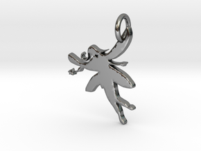 Fairy With Wand Pendant in Fine Detail Polished Silver