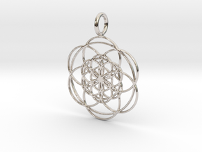 Seed of Life within Seed of Life 40mm 34mm in Rhodium Plated Brass: Medium