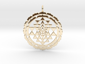 Sri Yantra Lotus 48mm in 14k Gold Plated Brass