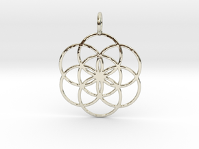 Seed of Life 27mm 33mm 45mm in 14k White Gold: Medium