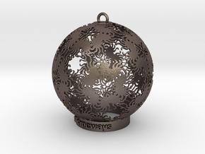 Sun Kaleidoscope Ornament in Polished Bronzed-Silver Steel