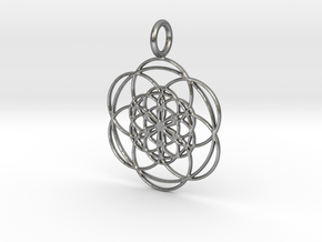 Seed of Life within Seed of Life 40mm 34mm in Natural Silver: Medium