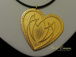 Heart Knot in Polished Gold Steel