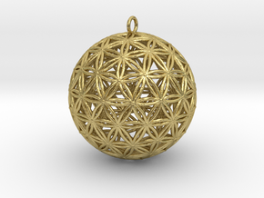 Geodesic Flower of Life Sphere in Natural Brass