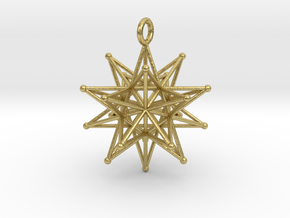 Stellated Icosahedron 27mm diameter in Natural Brass