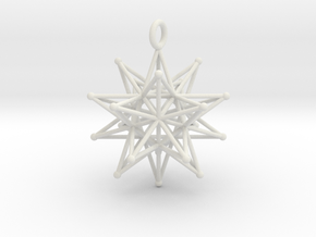 Stellated Icosahedron 27mm diameter in White Natural Versatile Plastic