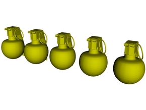 1/20 scale M-67 fragmentation grenades x 5 in Smooth Fine Detail Plastic