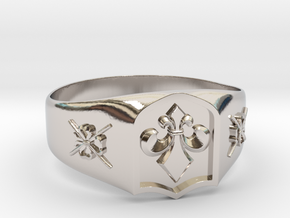 Fleur-de-lis and the Director of Ceremonies Ring in Rhodium Plated Brass