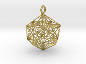Icosahedron with inner Stellated Dodecahedron 30mm in Natural Brass