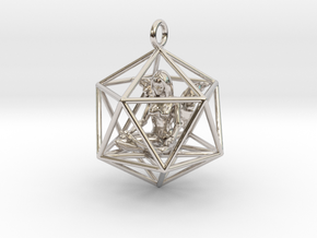 Angel in Icosahedron 35mm in Rhodium Plated Brass