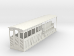 Tramway style coach (half open,harf closed) in White Natural Versatile Plastic