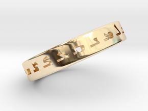 Assyrian Alphabet Ring I in 14k Gold Plated Brass