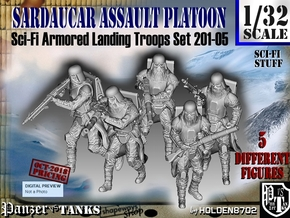1/32 Sci-Fi Sardaucar Platoon Set 201-05 in Smooth Fine Detail Plastic