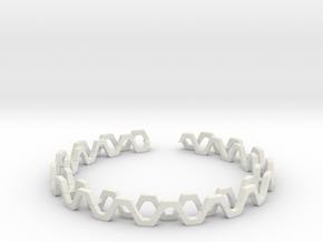 Honey Lines, Bracelet Medium Size d=65mm in White Premium Versatile Plastic: Medium
