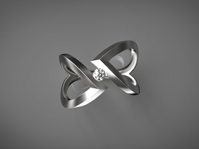 Stagger Heart (without diamond) in Fine Detail Polished Silver