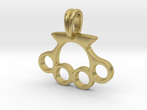 Knuckle Pendant Jewelry Symbol in Natural Brass