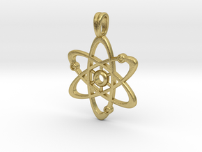 Gold Plate Atom Necklace Symbol in Natural Brass