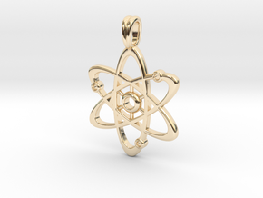 Gold Plate Atom Necklace Symbol in 14k Gold Plated Brass