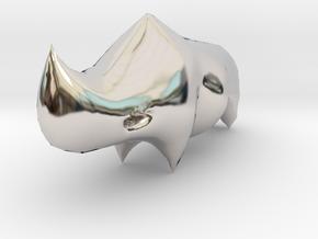 Rhino Sculplture in Rhodium Plated Brass: 15mm