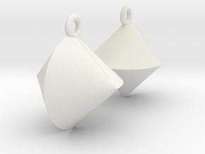 Sphericon Earrings in White Natural Versatile Plastic
