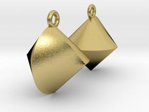 Sphericon Earrings in Natural Brass