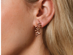 Long Leaf Earrings in 14k Rose Gold Plated Brass