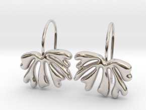 Exotic Leaf Earrings in Rhodium Plated Brass