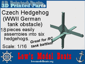 Czech Hedgehog 1/16 scale - makes six in White Natural Versatile Plastic: 1:16