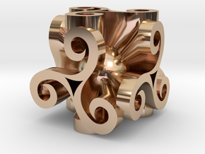 Triskell Cube With Rope Ring in 14k Rose Gold