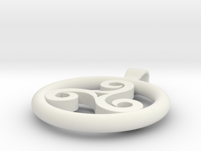Triskell Positve Hole Pendant in White Natural Versatile Plastic