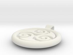 Big Triskell Negative Engrave Pendant in White Natural Versatile Plastic