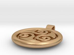 Big Triskell Negative Engrave Pendant in Natural Bronze