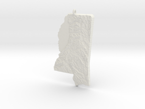 Mississippi Christmas Ornament in White Natural Versatile Plastic