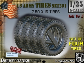 1/35 Tire 750x16 Set201 in Smooth Fine Detail Plastic