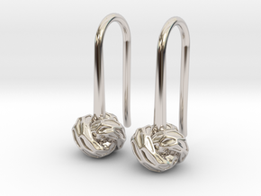D-STRUCTURA S Earrings.   in Rhodium Plated Brass